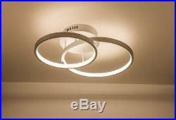 LED Ceiling Light, Double Halo Shaped, Silver Finish Dimmable, Warm White 3000K