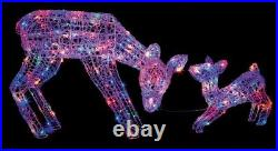 LED Christmas Reindeer & Baby Snow Decoration Plug In Outdoor Garden Xmas Lights