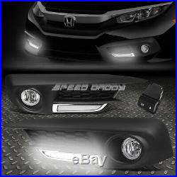 LED DRL BEZELFOR 16-17 HONDA CIVIC CLEAR LENS BUMPER FOG LIGHT LAMPS WithSWITCH