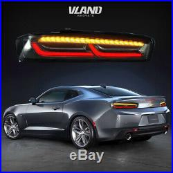 LED Tail Lights For Chevy Camaro 2016-2018 DRL White Smoked Brake Rear Lights