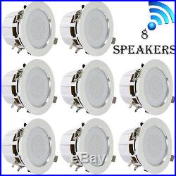 LOT OF (8) 3.5 Bluetooth Ceiling/Wall Speakers, (8) 2-Way with Built-in LED Light