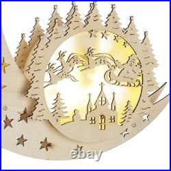 Large Christmas 10 LED Wooden Silhouette Animated Outdoor Xmas Decoration Lights