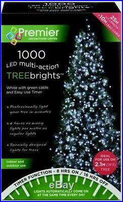 Premier 1000 LED Multi-Action TreeBrights Christmas Tree Lights with Timer WHITE