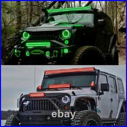 RGB Halo Chasing 22 Offroad LED Light Bar & 3 Pods + Bluetooth Control Wiring