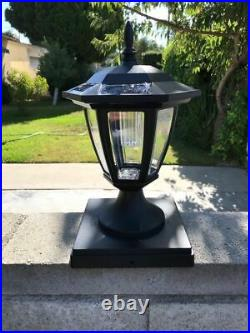 Set Of 2 Solar Black Hexagon Cap Light With White SMD LED For 6x6 Fence Post
