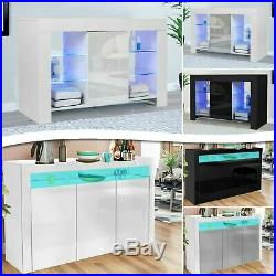 Sideboard TV Unit Cabinet Cupboard with LED Light Matt Body and High Gloss Doors