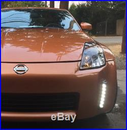 Smoked 370Z Style LED Bumper Reflector Daytime Running Lights For 2003-05 350Z
