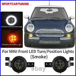 Smoked LED Halo Front Turn Signal Lights White DRL For Mini Cooper R50 R52 R53