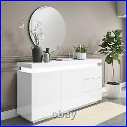 Vivienne White High Gloss Sideboard with LED Lighting