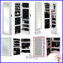 Wall Mounted / Desktop Mirror Jewellery Cabinet with LED Lights Makeup Storage