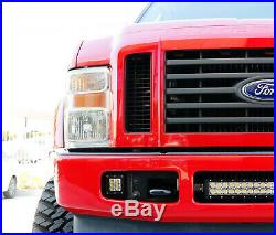 White 24W LED Pods with Foglight Bracket/Wirings For 08-10 Ford F250 F350 F450 SD
