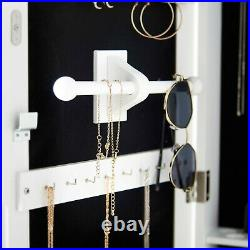 White Door / Wall Mounted Jewellery Mirror Cabinet with LED Lights Lock Storage