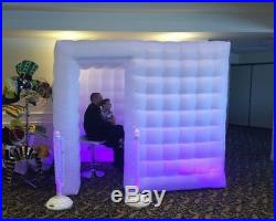 White Inflatable Cube Photo Booth Air Tent Portable Photobooth with LED Lights