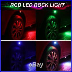 White Rock Lights Aluminum Wireless withBluetooth Music RGB Color Accent Under Car