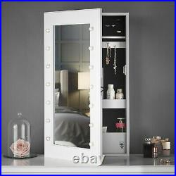 White Tabletop / Wall Mounted Jewellery Mirror Cabinet with LED Lights Storage
