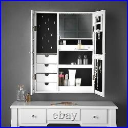 White Wall Desk Jewellery Cabinet with Mirror LED Lights Bedroom Makeup Storage