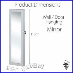 White Wall / Door Mounted Jewellery Mirror Cabinet with LED Light Makeup Storage