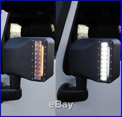 Xprite LED Side Mirror Housing withWhite & Amber Turn Signal Light for 07-18 Jeep